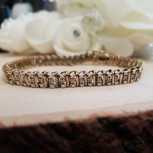 Jewelry - Gold 925 Sterling Silver Diamond Tennis Bracelet